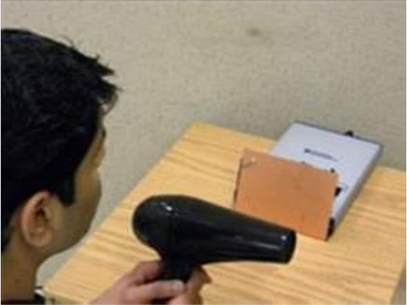 Testing the electromagnetic field signature for a hair dryer
